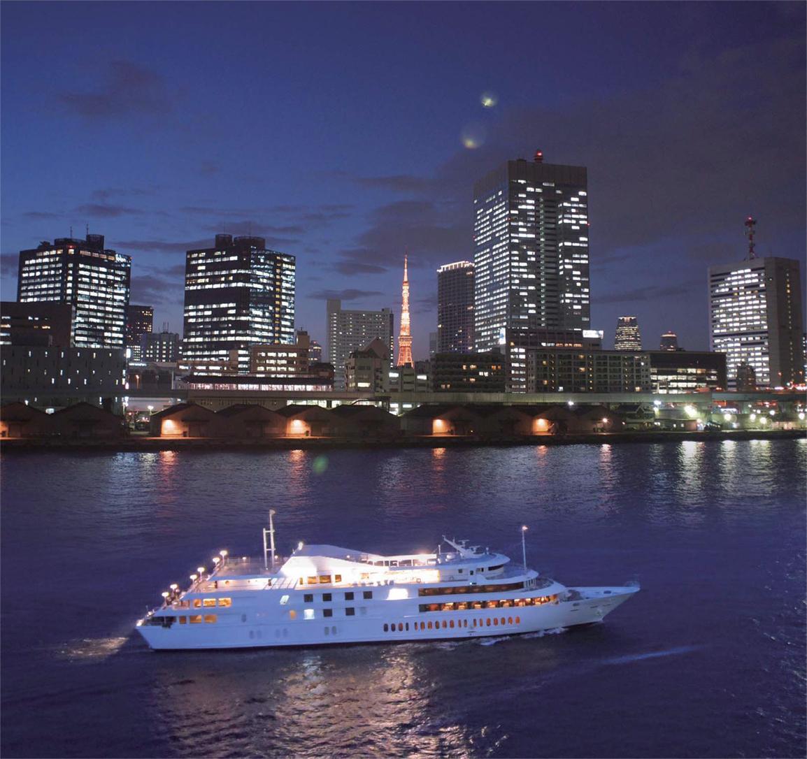 東京タワー&船(夜景)
