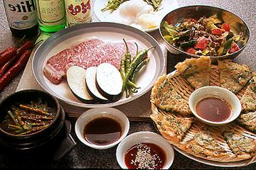本日のフェ、上ロース、ニラチヂミ、コリアンサラダ、チゲ