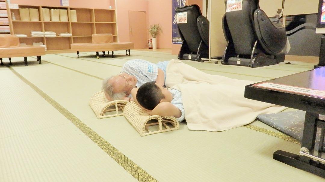 あそび疲れたら休憩処で心地よいうたた寝も。