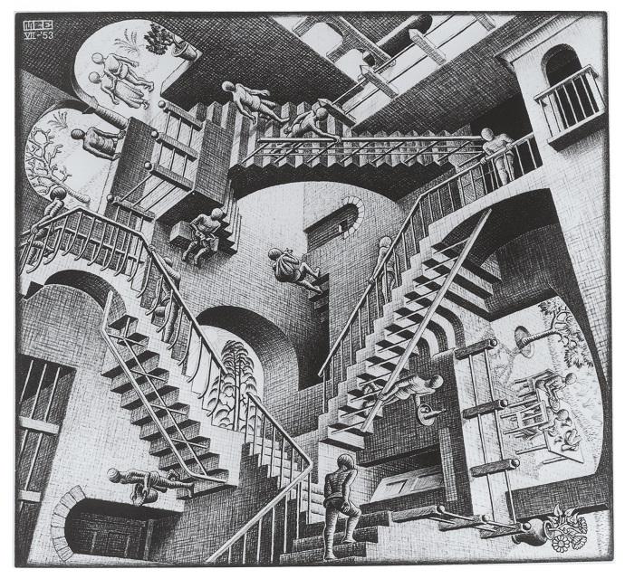 《相対性》 1953年 All M.C. Escher works copyright c The M.C. Escher Company B.V. - Baarn-Holland. All rights reserved. www.mcescher.com